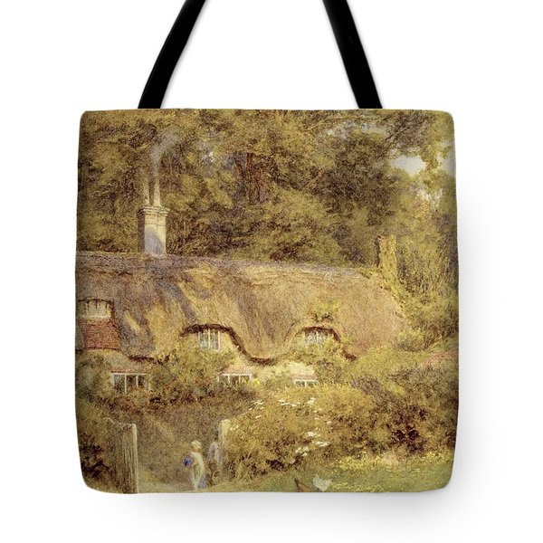 Cottage At Farringford Isle Of Wight Tote Bag by Helen Allingham