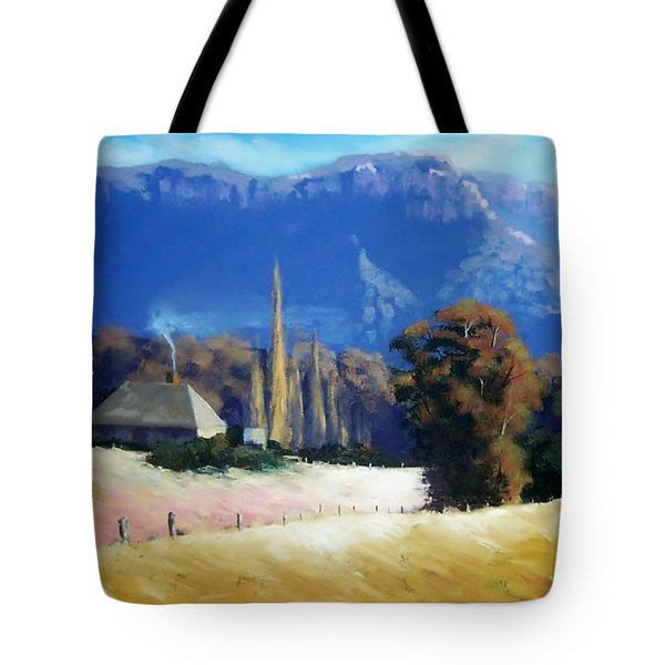 Cottage Under Escarpment Tote Bag