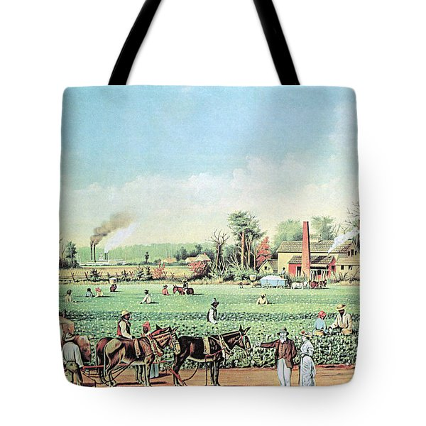 Cotton Plantation On The Mississippi Tote Bag by Photo Researchers