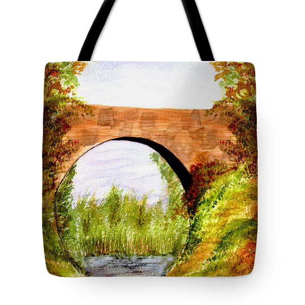 Tote Bag featuring the painting Country Bridge by Paula Ayers