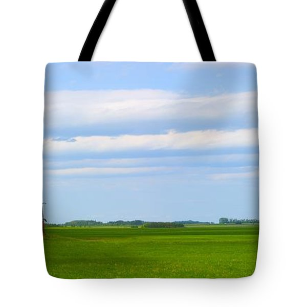 Country Grain Elevator Panoramic Tote Bag by Corey Hochachka