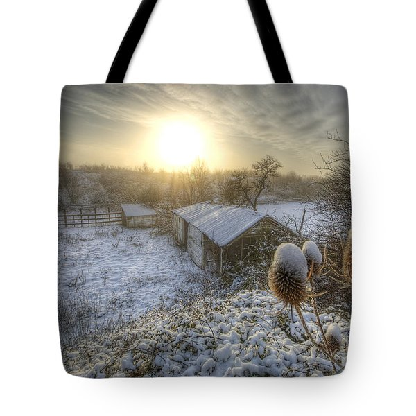 Country Snow And Sunrise Tote Bag by Yhun Suarez