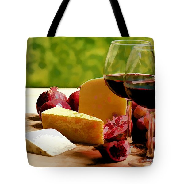 Countryside Wine  Cheese And Fruit Tote Bag by Elaine Plesser
