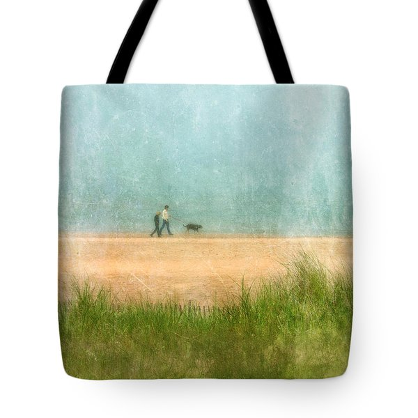 Couple On Beach With Dog Tote Bag by Jill Battaglia