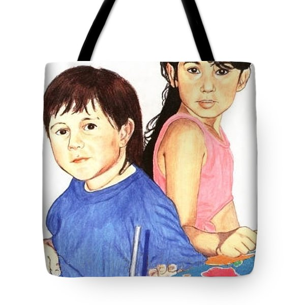 Tote Bag featuring the painting Cousins by Ana Tirolese