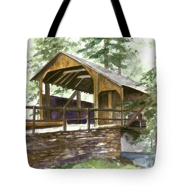 Tote Bag featuring the painting Covered Bridge At Knoebels  by Nancy Patterson
