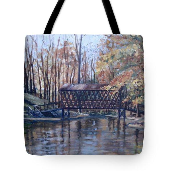 Covered Bridge At Lake Roaming Rock Tote Bag by Donna Tuten