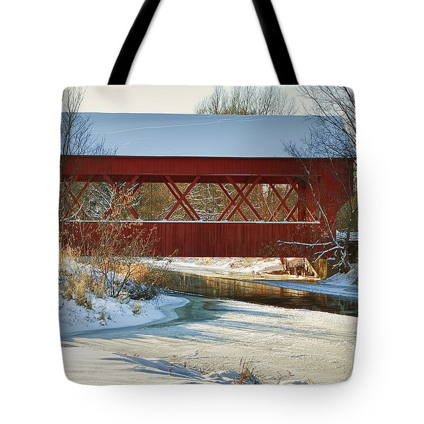 Covered Bridge Tote Bag by Eunice Gibb