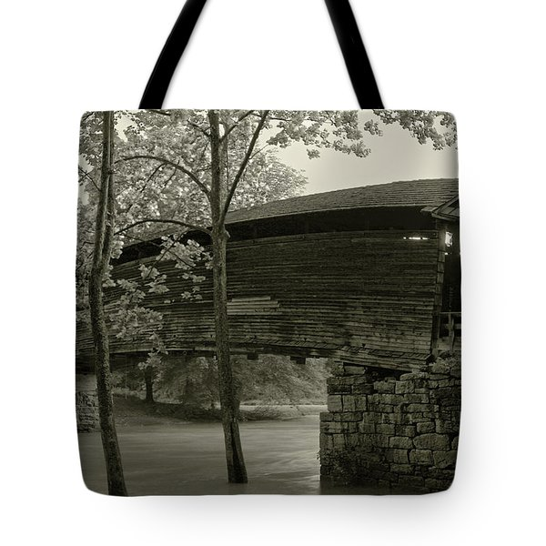 Tote Bag featuring the photograph Covered Bridge by Mary Almond