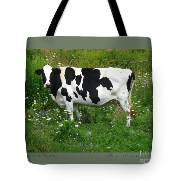 Cow In The Flowers Tote Bag