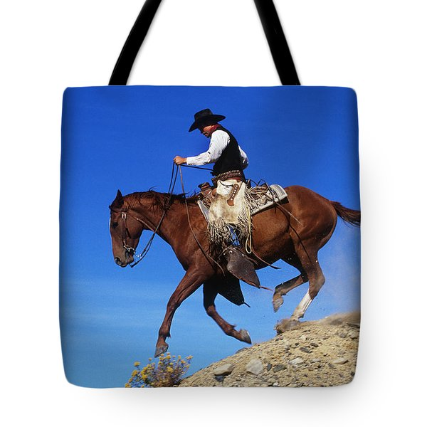Cowboy Tote Bag by George D Lepp and Photo Researchers