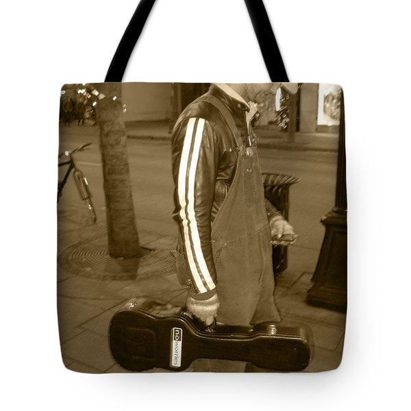 Cowboy Musician On Streets Tote Bag by Kym Backland