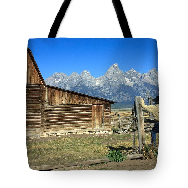Cowboy With Grand Tetons Vista Tote Bag by Karen Lee Ensley