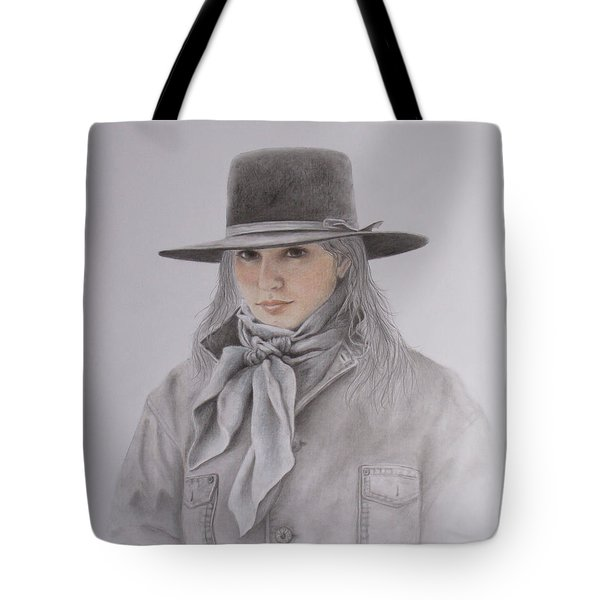 Tote Bag featuring the painting Cowgirl In Hat by Phyllis Howard
