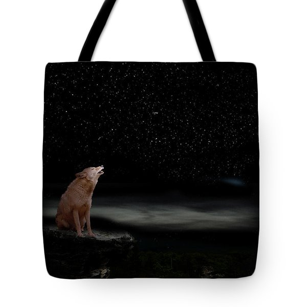 Tote Bag featuring the photograph Coyote Howling At Moon by Dan Friend