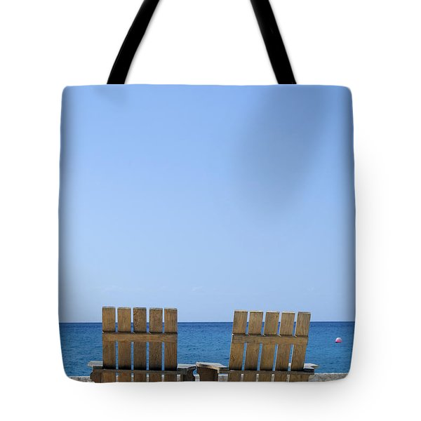 Tote Bag featuring the photograph Cozumel Mexico Beach Chairs And Blue Skies by Shawn O'Brien