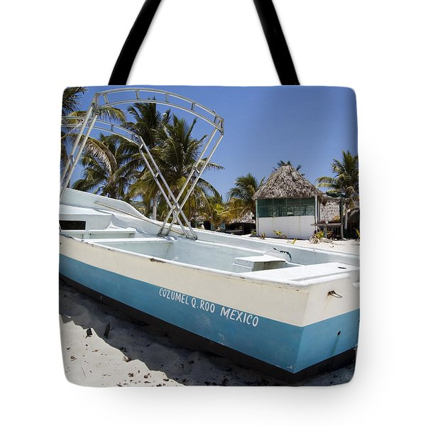 Tote Bag featuring the photograph Cozumel Mexico Fishing Boat by Shawn O'Brien
