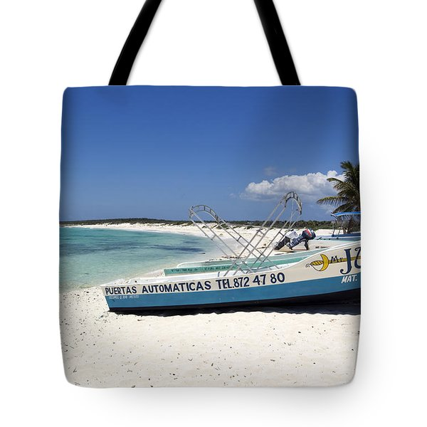 Tote Bag featuring the photograph Cozumel Mexico Fishing Boats On White Sand Beach by Shawn O'Brien