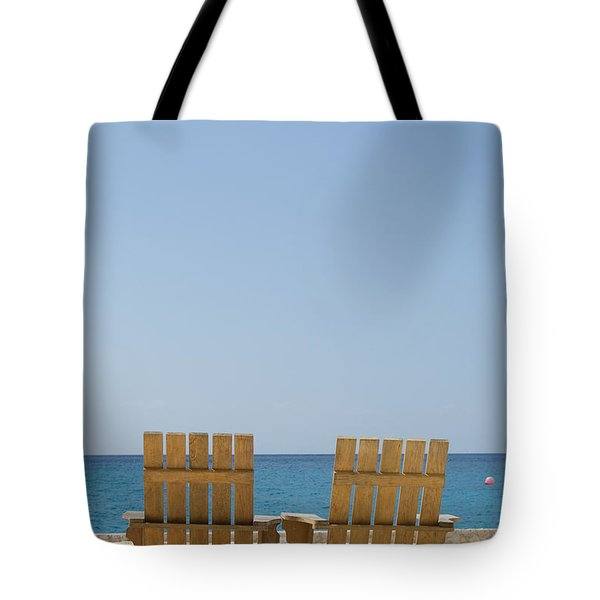 Tote Bag featuring the photograph Cozumel Mexico Poster Design Beach Chairs And Blue Skies by Shawn O'Brien