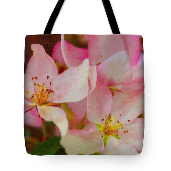 Crabapple Floral Paint Tote Bag by Donna Munro