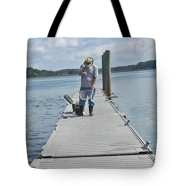 Crabber Man Tote Bag by Patricia Greer