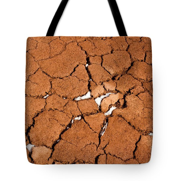 Tote Bag featuring the photograph Cracked Red Soil  by Les Palenik