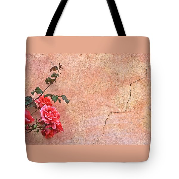 Cracked Wall And Rose Tote Bag