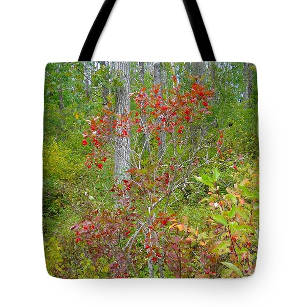 Tote Bag featuring the photograph Cranberries With Early Autumn Colors by Jim Sauchyn