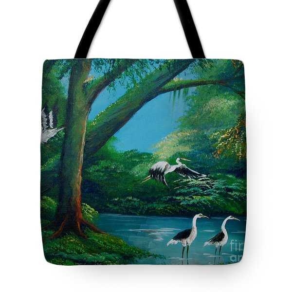 Cranes On The Swamp Tote Bag