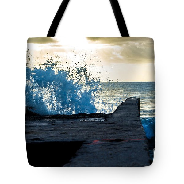 Crashing Blue Tote Bag by Rene Triay Photography