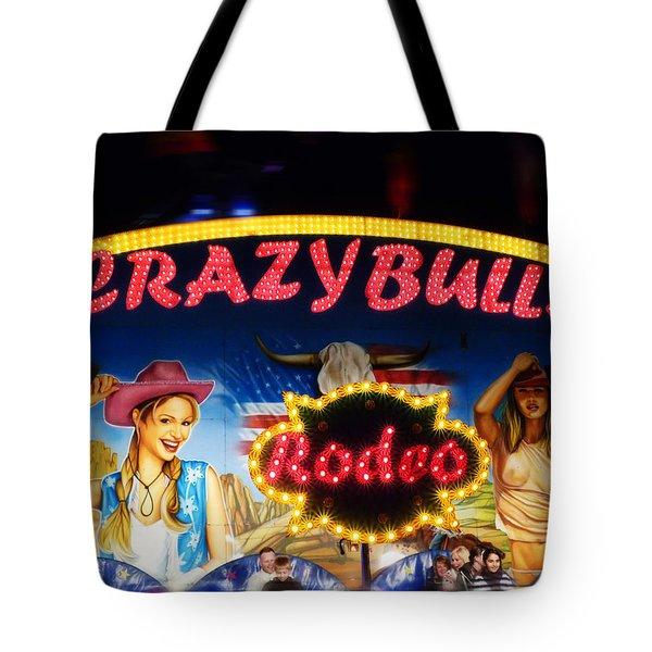 Crazy Bulls Tote Bag by Charles Stuart