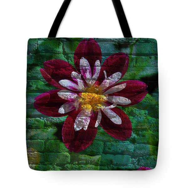 Crazy Flower Over Brick Tote Bag by Eric Liller