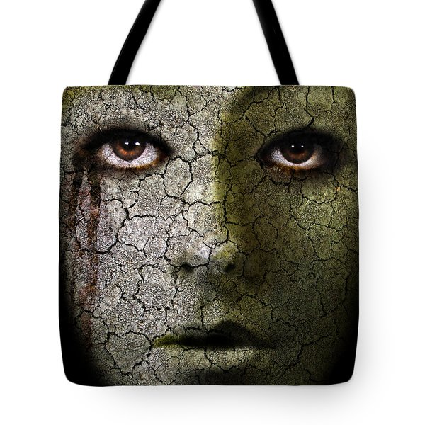 Creepy Cracked Face With Tears Tote Bag by Jill Battaglia