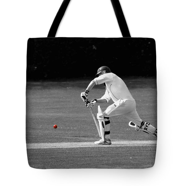 Cricketer In Black And White With Red Ball Tote Bag