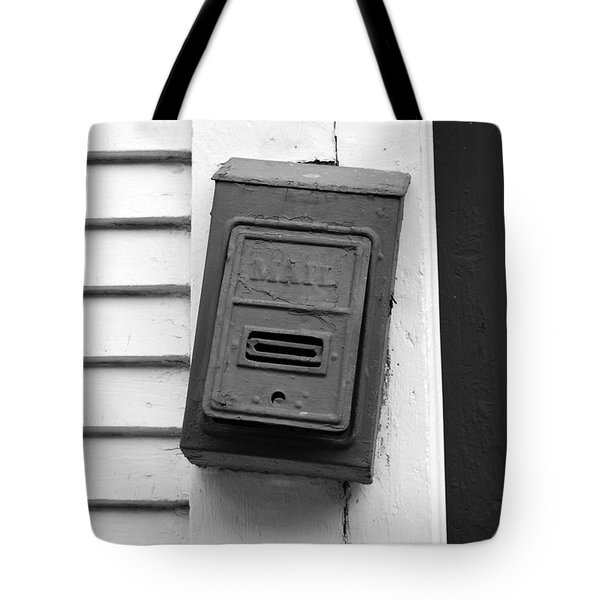 Crooked Old Fashioned Metal Green Mailbox French Quarter New Orleans Black And White Tote Bag by Shawn O'Brien