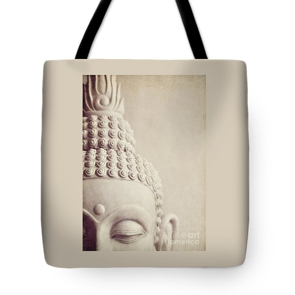 Cropped Stone Buddha Head Statue Tote Bag by Lyn Randle