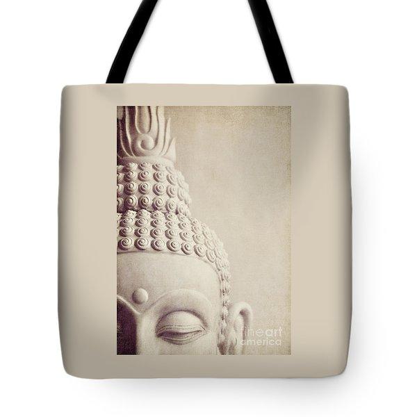 Cropped Stone Buddha Head Statue Tote Bag