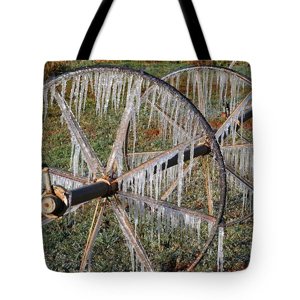 Tote Bag featuring the photograph Crops Of Ice #2 by Nola Lee Kelsey