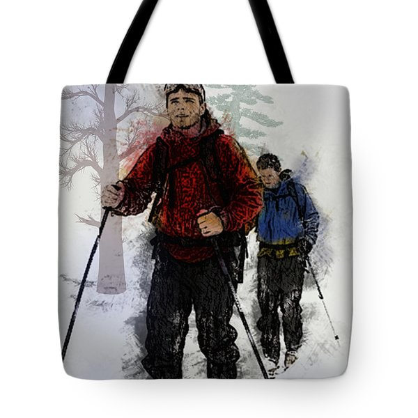 Cross Country Skiers Tote Bag by Elaine Plesser