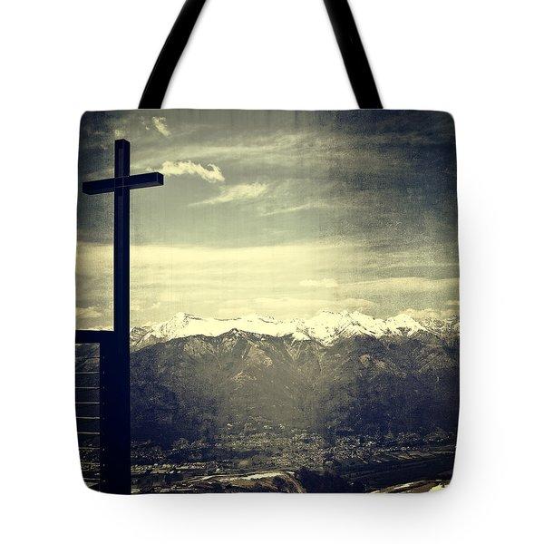 Cross In The Sky Tote Bag by Joana Kruse