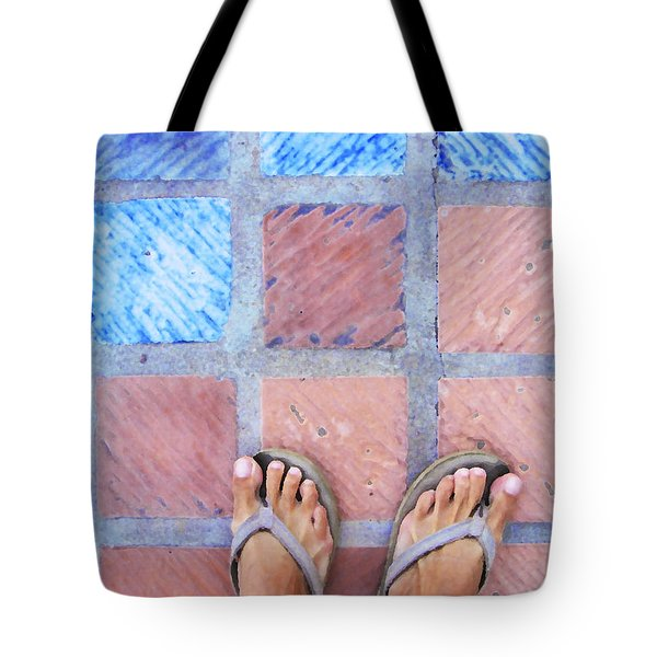 Cross-legged On A Colorful Sidewalk Tote Bag by Anne Mott