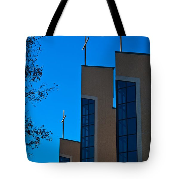 Tote Bag featuring the photograph Crosses Of Livingway Church by Ed Gleichman