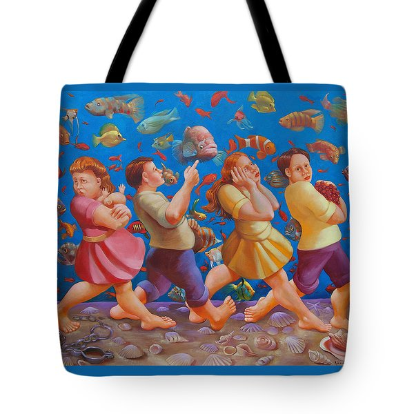 Crossing The Red Sea Tote Bag by Rosemarie Adcock