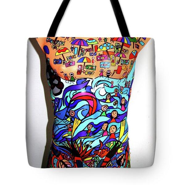 Crowded Beach Activities Tote Bag by Karen Elzinga