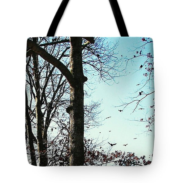 Tote Bag featuring the photograph Crows In For Landing by Pamela Hyde Wilson