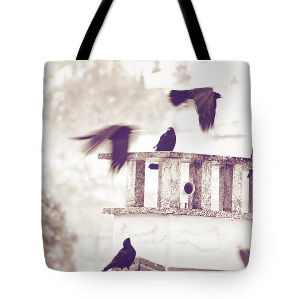 Crows On A Roof Tote Bag by Silvia Ganora