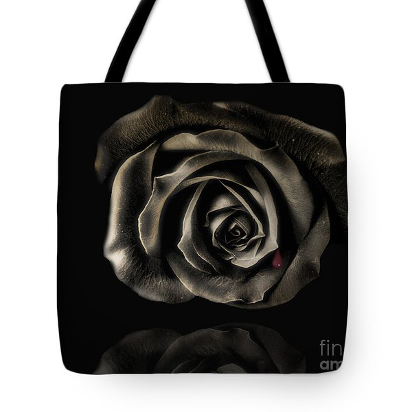 Crying Black Rose Tote Bag by Danuta Bennett
