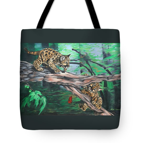 Cubs At Play Tote Bag by Wendy Shoults