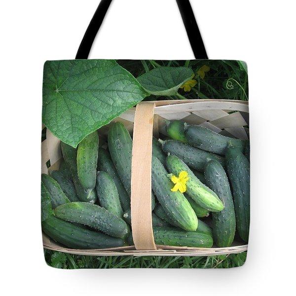 Cucumbers In Garden Basket Tote Bag