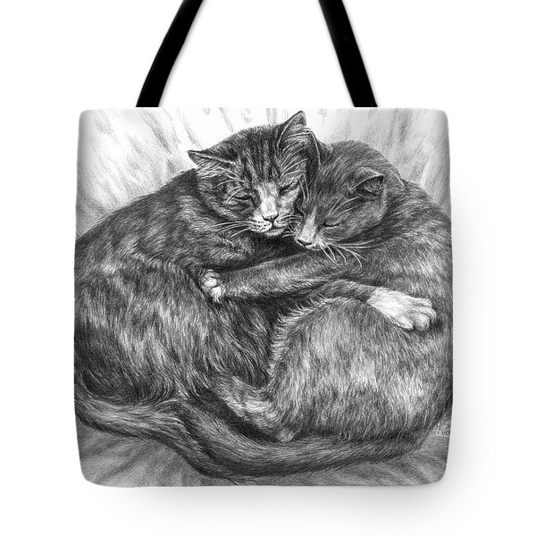 Cuddly Cats - Black And White Art Print Tote Bag